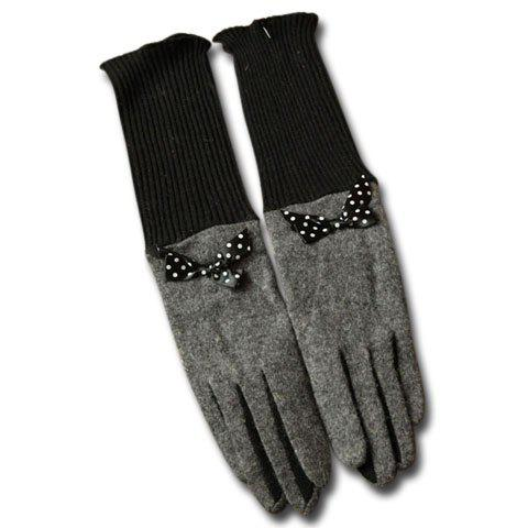 Pair of Warm Bowknot Embellished Color Patchwork Long Gloves For Women - COLOR ASSORTED