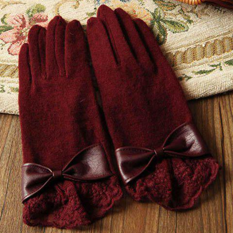 Pair of Chic Colored Fringed Bowknot Gloves For Women - COLOR ASSORTED