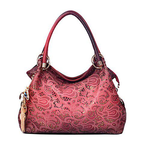 Fashion Openwork and Tassels Design Tote Bag For Women - RED