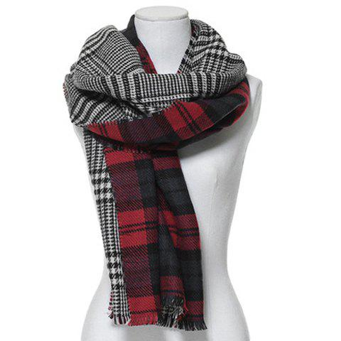 Classic Plaid Colored Double Sided Scarf For Women - AS THE PICTURE
