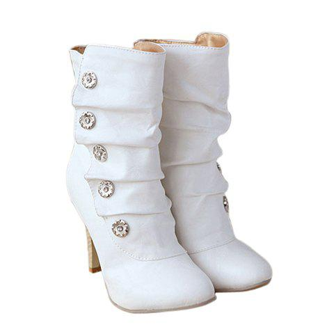 Casual Metal and Solid Color Pleated Design Short Boots For Women - WHITE 39