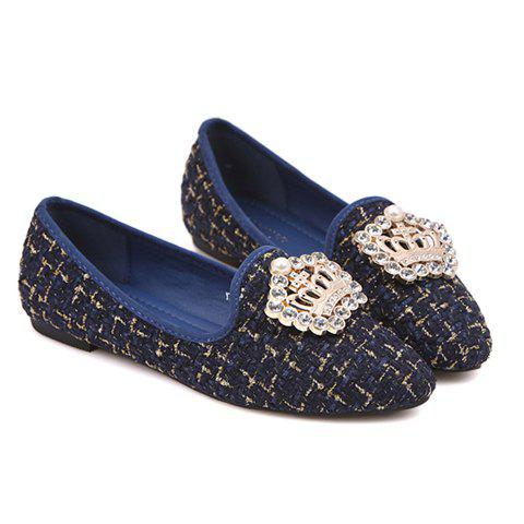 Stunning Rhinestone and Checked Design Women's Flat Shoes - BLUE 38