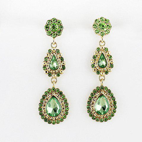 Pair of Exquisite Long Faux Gemstone Earrings For Women