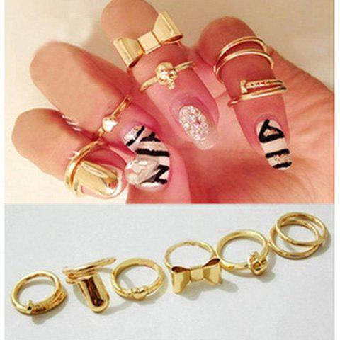 7PCS of Bowknot Skull Heart Round Nail Shape Knuckle Rings - AS THE PICTURE ONE SIZE