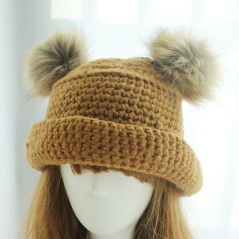 Fashion Fuzzy Ball Embellished Knit Bucket Hat For Women - COLOR ASSORTED