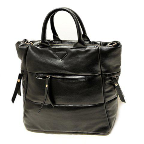 Casual Zipper and Solid Color Design Women's Tote Bag - BLACK