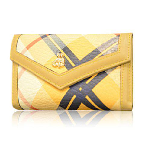 Korean Style Color Matching and PU Leather Design Women's Wallet - YELLOW