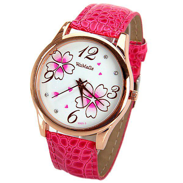 WoMaGe Quartz Watch with Numbers and Dots Indicate Leather Watch Band Flower Pattern Dial for Women - PLUM