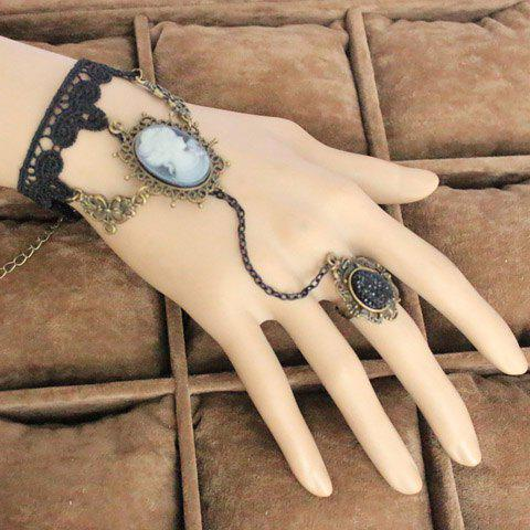 Exquisite Beauty Pendant Lace Charm Bracelet With Ring For Women - AS THE PICTURE ONE SIZE