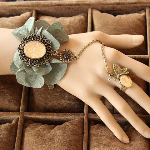 Flower Charm Bracelet With Butterfly Ring - AS THE PICTURE ONE SIZE