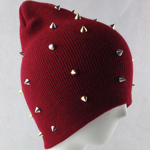 Fashion Rivet Embellished Colored Beanie For Men and Women - WINE RED