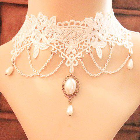 Faux Pearl Pendant Lace Necklace - AS THE PICTURE