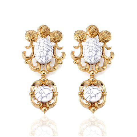 Pair of Exquisite Colored Faux Gemstone Earrings For Women