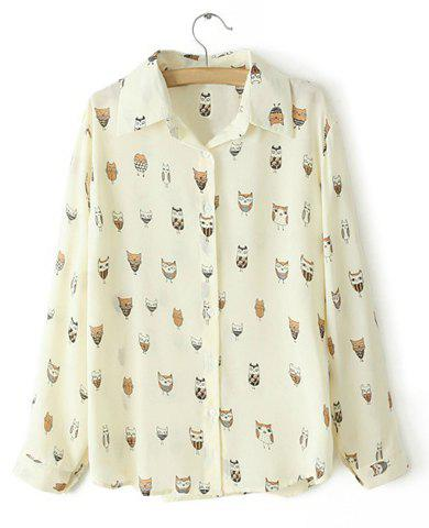 Trendy Turn-Down Collar Owl Print Single-Breasted Long Sleeves Shirt For Women
