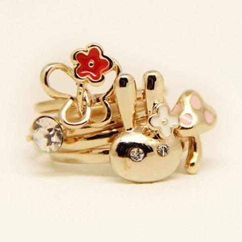 4PCS of Chic Diamante Alloy Rings For Women - AS THE PICTURE ONE SIZE