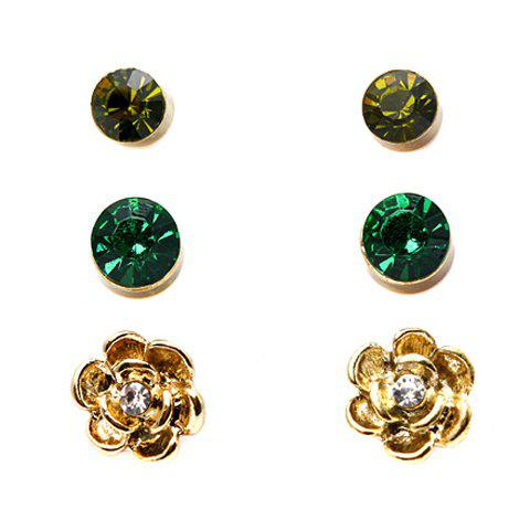 3Pairs of Chic Rhinestone Earrings For Women - AS THE PICTURE