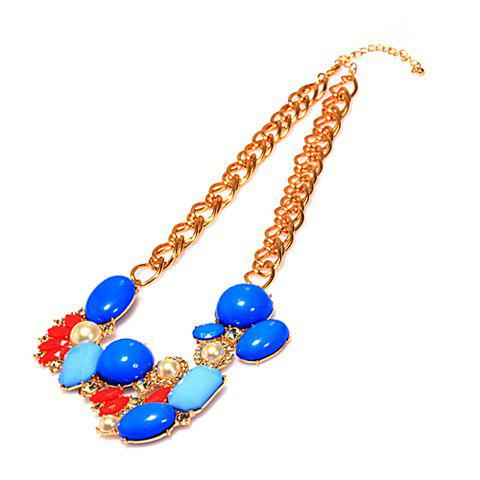Gorgeous Polychrome Faux Gemstone Pendant Alloy Necklace For Women