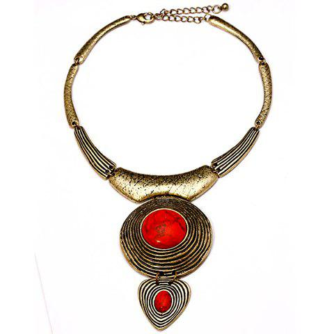Retro Colored Faux Gemstone Pendant Alloy Necklace For Women - RED