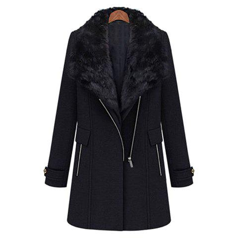 Fashionable Faux Fur Collar One-Button Waistcoat And Zipper Long Sleeves Overcoat Thickened Women's Twinset - BLACK XL