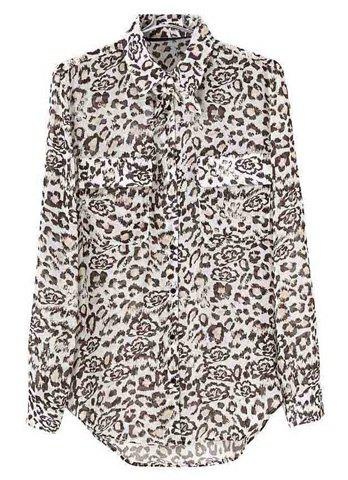 Turn-Down Collar Leopard Print Single-Breasted Long Sleeves Blended Women's Chiffon Blouse - LEOPARD S