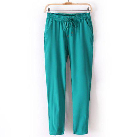 Casual Elastic Waist Drawstring Solid Color Slimming Women's Harem Pants - GREEN M