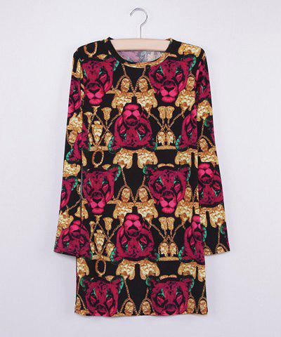 Scoop Collar Leopard Head Print Long Sleeves Women's Bodycon Dress - AS THE PICTURE S