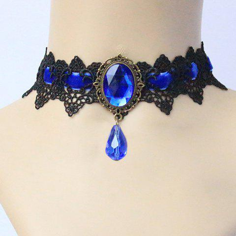 Retro Chic Gothic Faux Sapphire Embellished Knitted Necklace For Women - AS THE PICTURE