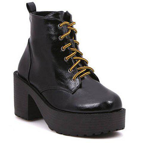 Casual Lace-Up Design Solid Color Platform Shoes For Women - BLACK 39