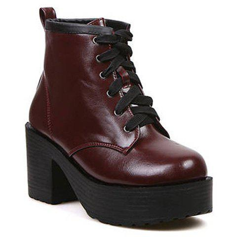 Casual Lace-Up Design Solid Color Platform Shoes For Women - WINE RED 39