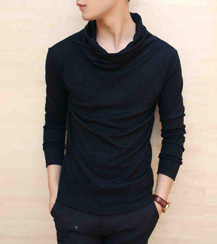 Casual style heaps collar long sleeves slimming polyester for Polyester t shirts for men