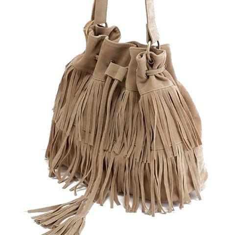 Pretty Tassels and Suede Design Crossbody Bag For Women - APRICOT