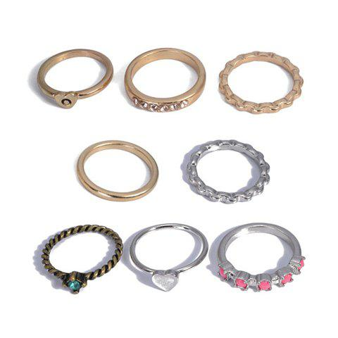 8PCS of Diamante Alloy Rings For Women - AS THE PICTURE ONE SIZE
