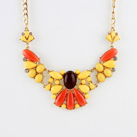 Faux Gemstone Pendant Teardrop Alloy Necklace - AS THE PICTURE