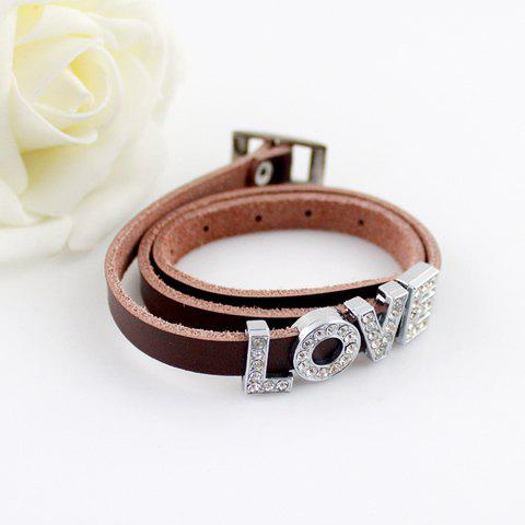Stylish Diamante Letter Embellished Wrap Bracelet For Women - BROWN