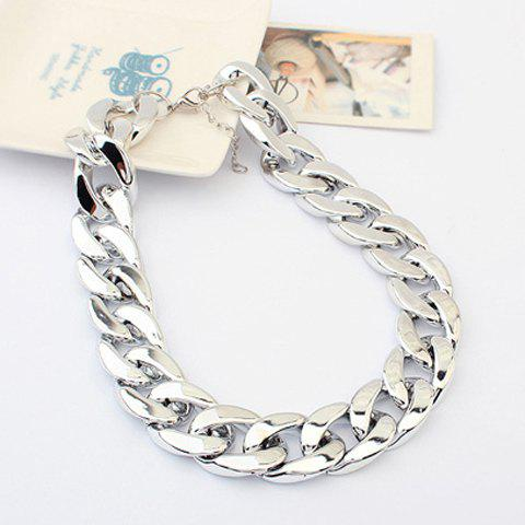 Adjustable Thick Chain Necklace - SILVER