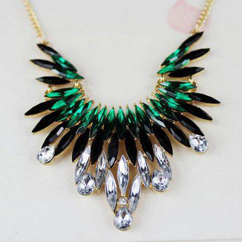 Rhinestoned Pendant Alloy Necklace - GREEN
