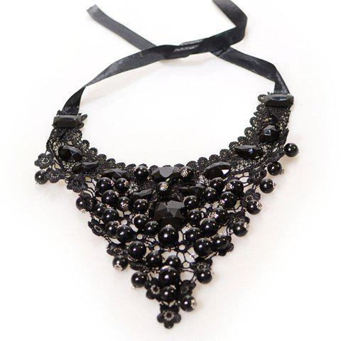 Gothic Style Beading Openwork Lace Necklace - BLACK