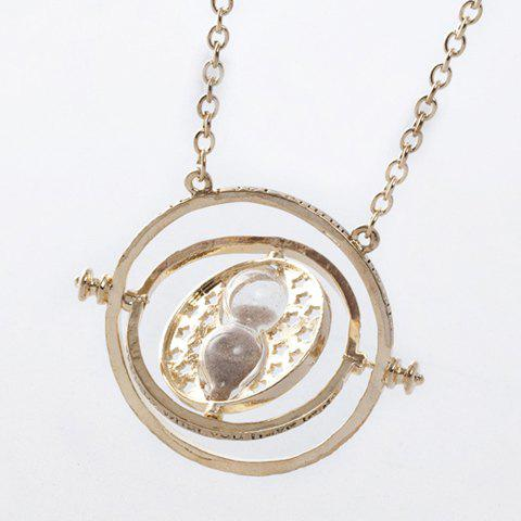 Hollowed Time Turner and Hourglass Pendant Necklace - AS THE PICTURE