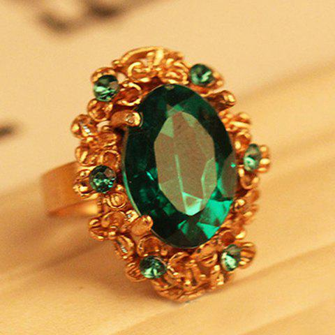 Oval Faux Gem Alloy Ring - COLOR ASSORTED ONE SIZE