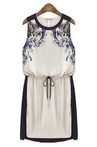 Trendy Round Collar Printing Color Splicing Beam Waist Sleeveless Dress For Women - AS THE PICTURE S