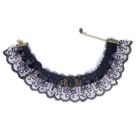 Vintage Rose Embellished Lolita Lace Fake Collar Necklace For Women - BLACK
