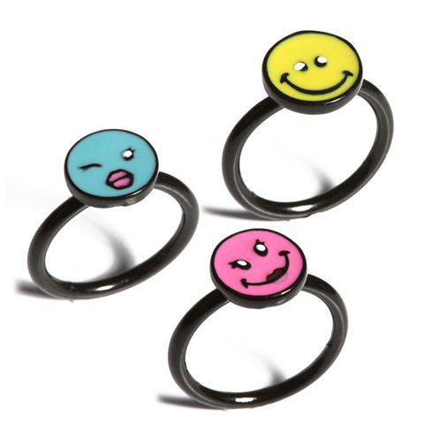 3PCS of Cute Colored Emoticon Alloy Rings For Women