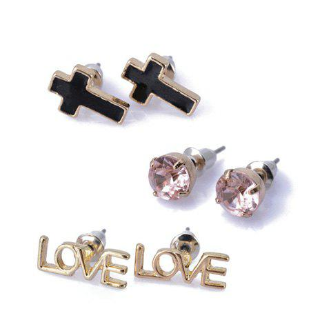 3 Pairs of Love Cross and Round Shape Rhinestoned Stud Earrings - AS THE PICTURE