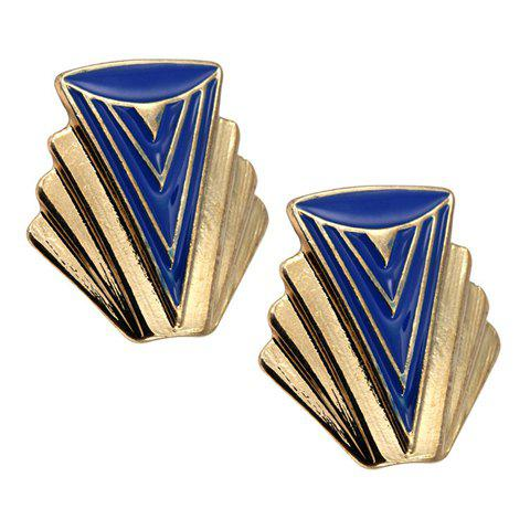 Pair of Chic Colored Shell Shape Earrings For Women - BLUE