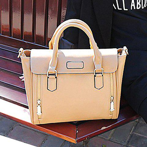 Vintage Double Zippers and Solid Color Design Tote Bag For Women - APRICOT