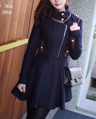 Ladylike Detachable Collar Zipper Solid Color Long Sleeves Waisted Slimming Coat For Women