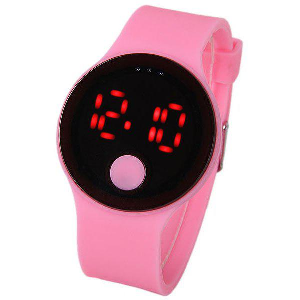 Waterproof Rubber Band Red LED Watch with Number Hour Marks Round Shaped -  PINK