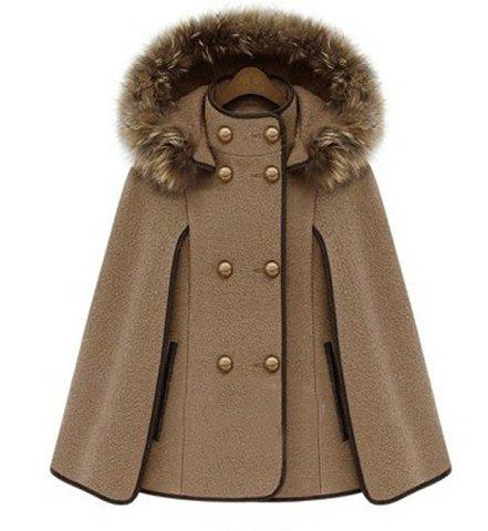 Trendy Detachable Hooded Cape-Style Worsted Solid Color Coat For Women - CAMEL XL