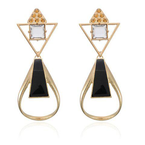 Pair of Stylish Rhinestone Openwork Drop Earrings For Women - AS THE PICTURE