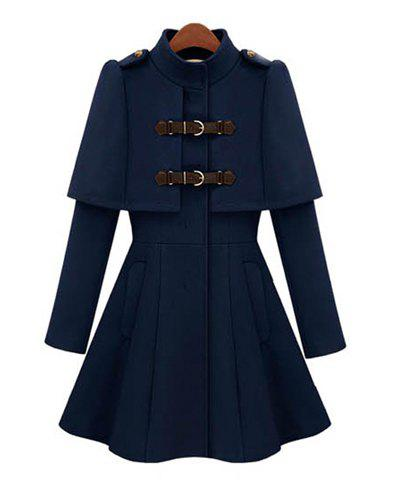 Ladylike All-Match Solid Color Stand Collar Faux Cappa Waisted Buckle Long Sleeves Coat For Women - DEEP BLUE XL